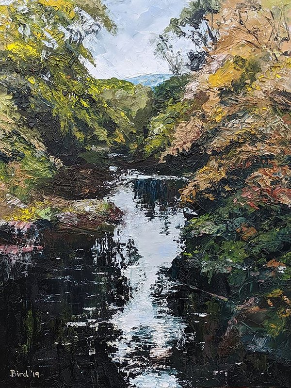 "Betws-y-Coed Downstream - Oil on board 12""x16"" SOLD"