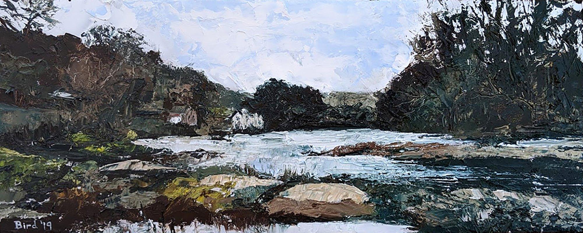 "The River Dee at Llangollen - Upstream - Oil on board 15""x6"" £200"