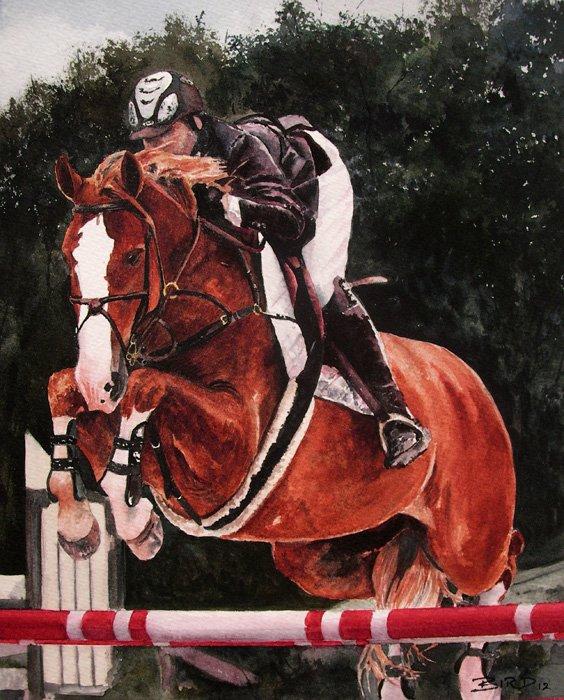 "Showjumping - Watercolour 9.5""x12"" £200"