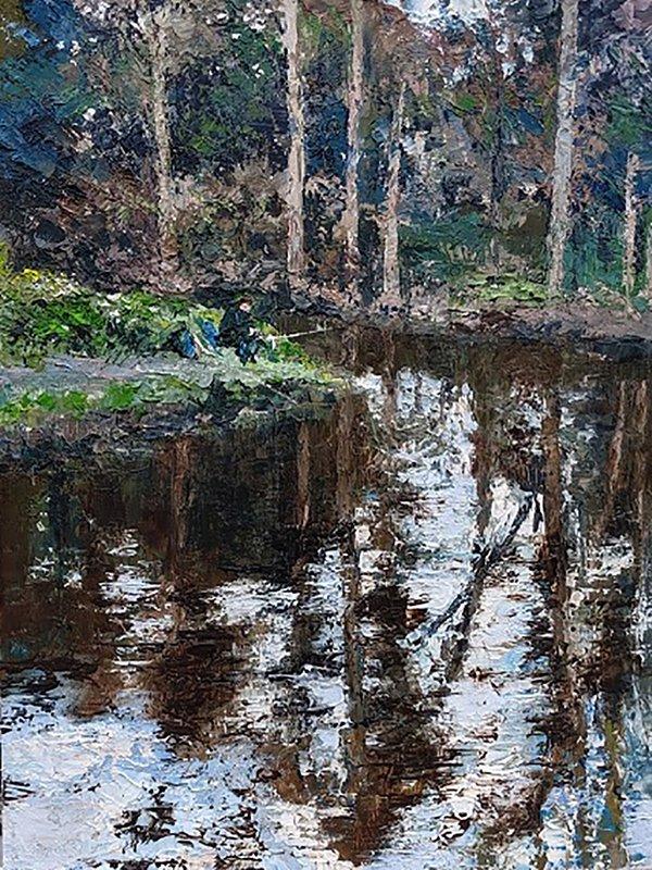 "Reflections - Fishing off Mill Island , Nantwich. Oil on board 12""x16"" SOLD"