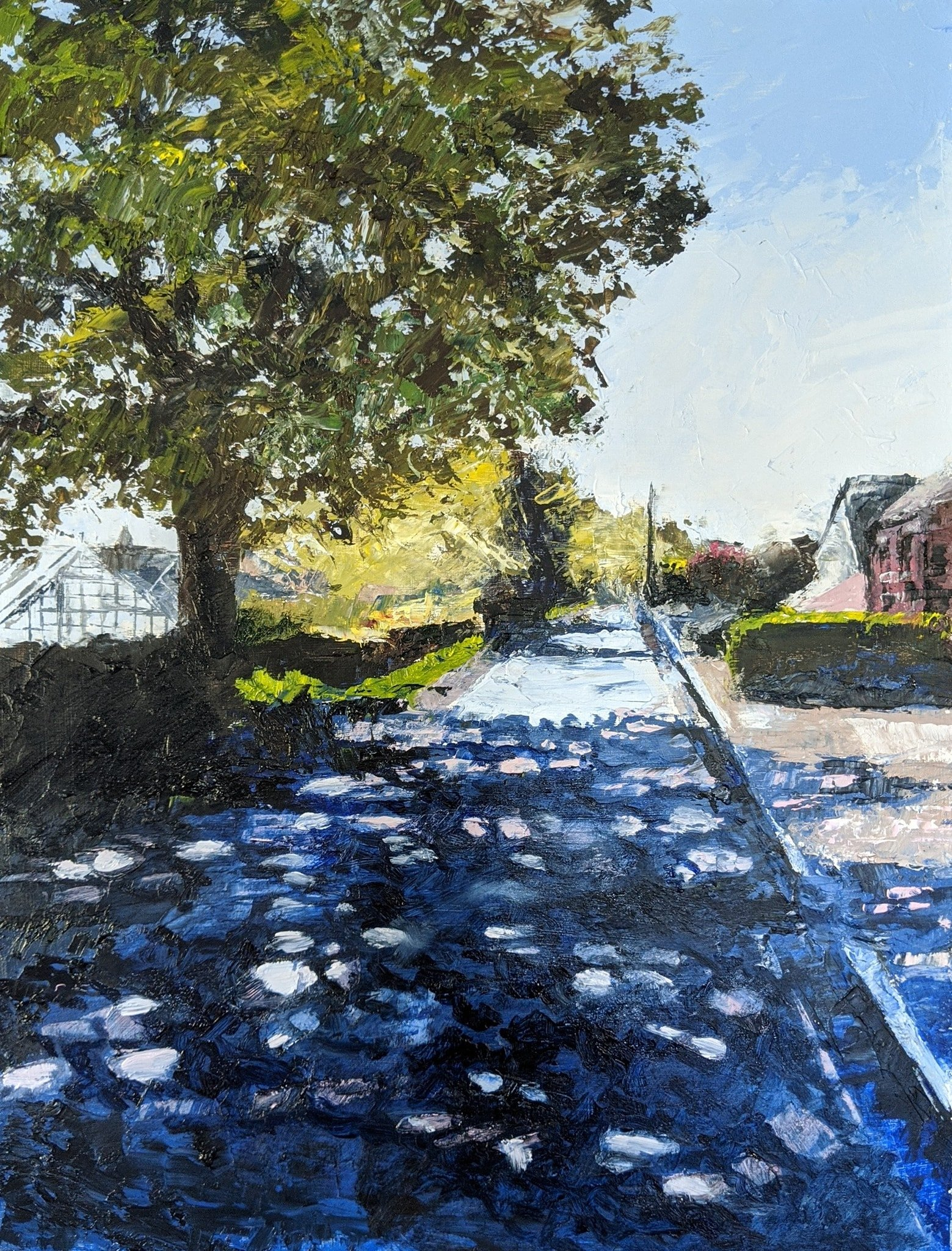 "The Daily Walk: Station Road, Aston Juxta Mondrum Oil on board 12""x16"" £200"
