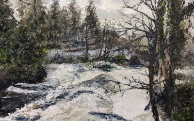 Betws-y-Coed the River Llugwy in spate